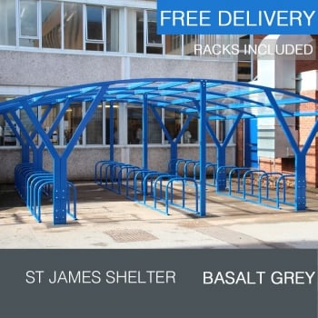 St James Cycle Shelter, Basalt Grey