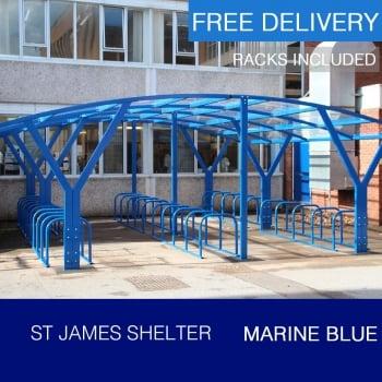 St James Cycle Shelter, Marine Blue