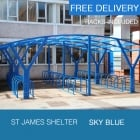 St James Cycle Shelter, Sky Blue
