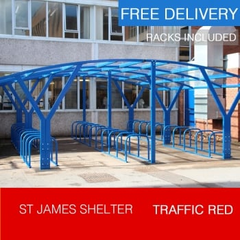 St James Cycle Shelter, Traffic Red