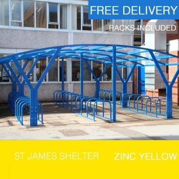 St James Cycle Shelter, Zinc Yellow
